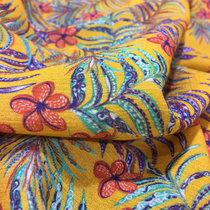 Вискоза плательная креш стрейч Max Mara пальмовые ветви на желтом