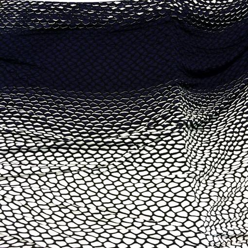 Трикотаж вискозный купон гофрированный черно-белая сетка