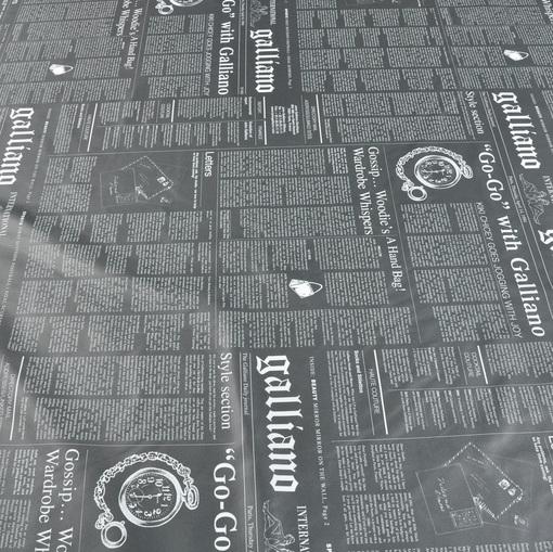Плащевая серая с газетным принтом и водооталкивающим покрытием ткань