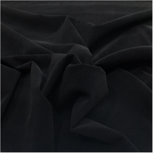 Микровельвет хлопковый стрейч черного цвета