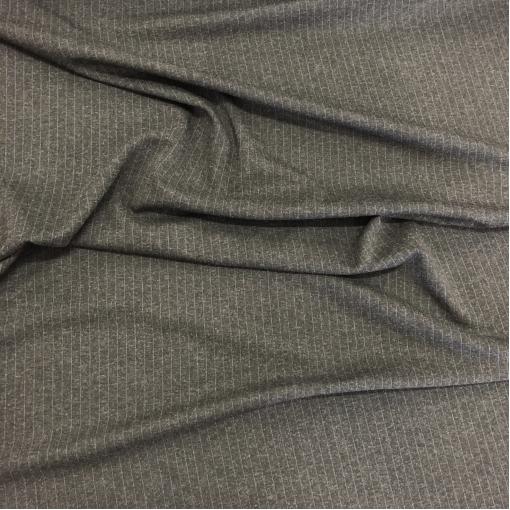 Джерси вискозное с шерстью стрейч синие полоски на черно-сером фоне