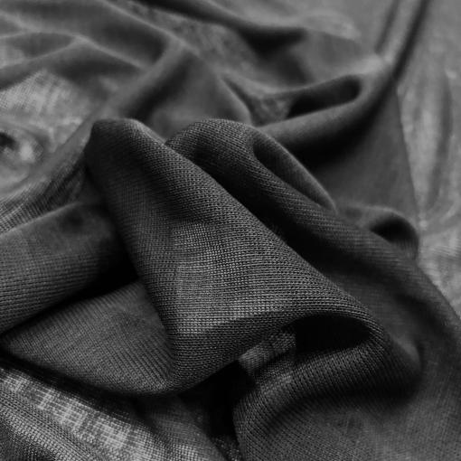 Трикотаж шерстяной тонкий стрейч черного цвета с отливом
