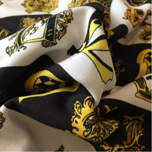 Трикотаж хлопчатобумажный теплый принт Versace полосы и буквы на черном фоне