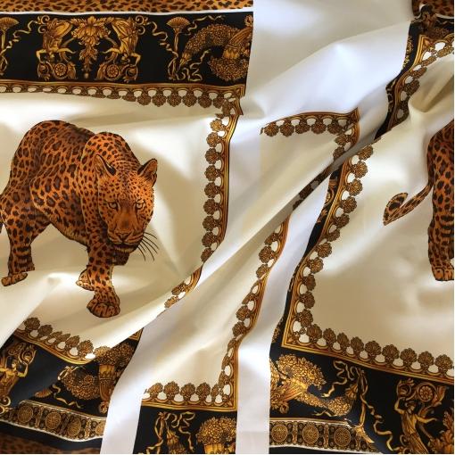 Трикотаж хлопчатобумажный теплый принт Versace леопард и вензеля