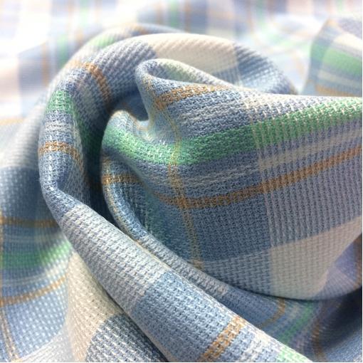 Ткань костюмная хлопковая летняя стрейч голубая клетка