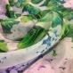 Муслин хлопок с шелком D&G  цветы гортензии с листьями