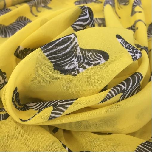 Батист хлопковый принт зебры на желтом фоне