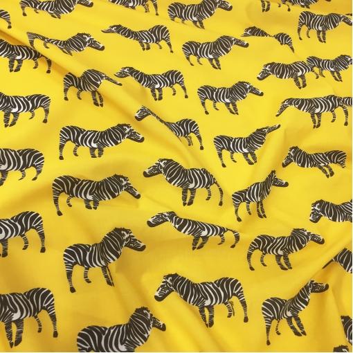 Хлопок плательный принт зебры на желтом фоне