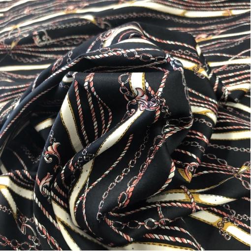 Хлопок сатин атласный Hermes ремни и цепи на черном фоне