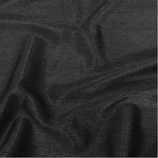 """Хлопок костюмный нарядный """"рогожка"""" черного цвета с блеском"""