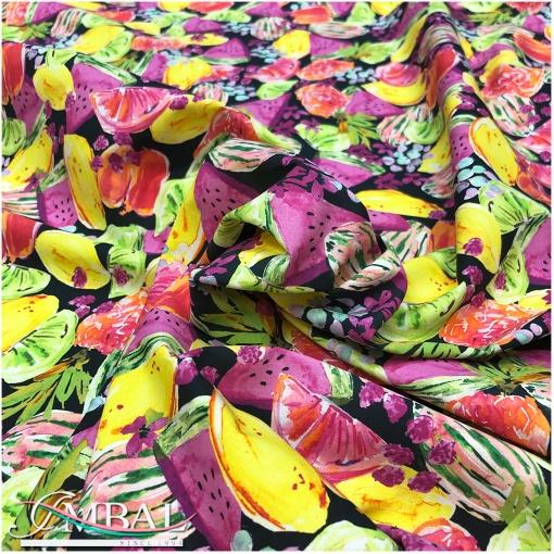 Хлопок рубашечный принт Ratti сочные фрукты на чёрном фоне