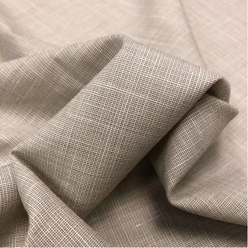Ткань костюмная шерстяная под лён пыльно-бежевого цвета