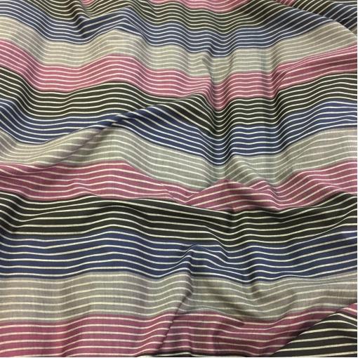 Ткань костюмная шерстяная стрейч Ferragamo малиново-сине-серые полосы