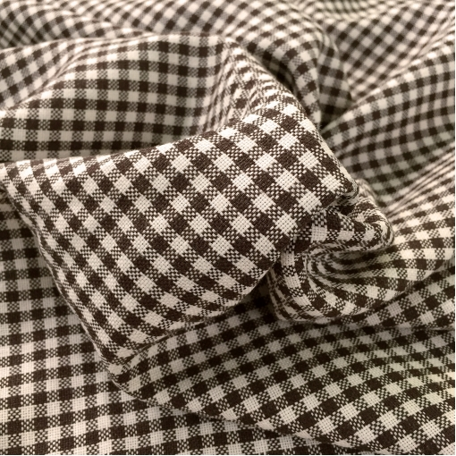Ткань костюмная тонкая шерстяная рогожка в молочно-коричневую клетку