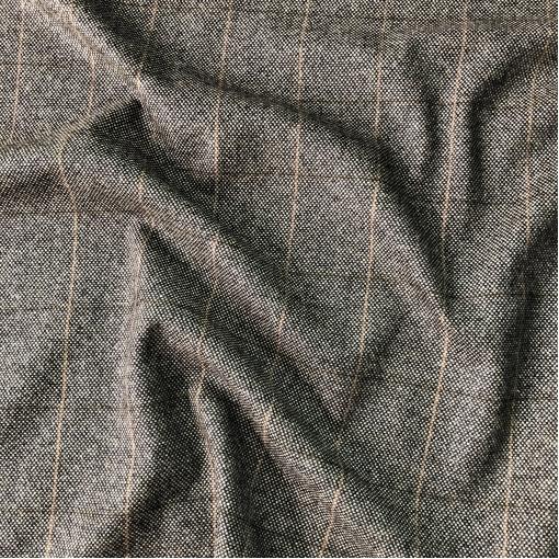Твид костюмный шерстяной черно-коричневая средняя клетка
