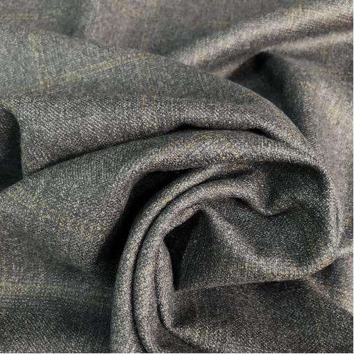 Ткань костюмная шерстяная нежная горчичная клетка на темно-сером фоне