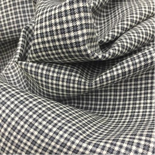 Ткань костюмная летняя принт Prada мелкая черно-белая клетка