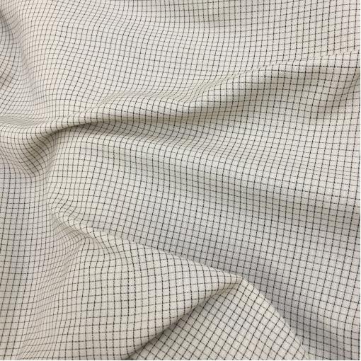 Ткань костюмная летняя принт Prada мелкая черная клеточка на ванильном фоне