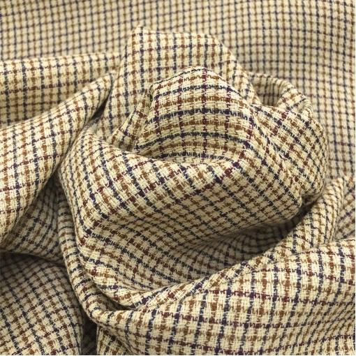 Ткань костюмная летняя принт мелкая черно-коричневая клеточка на желтом фоне