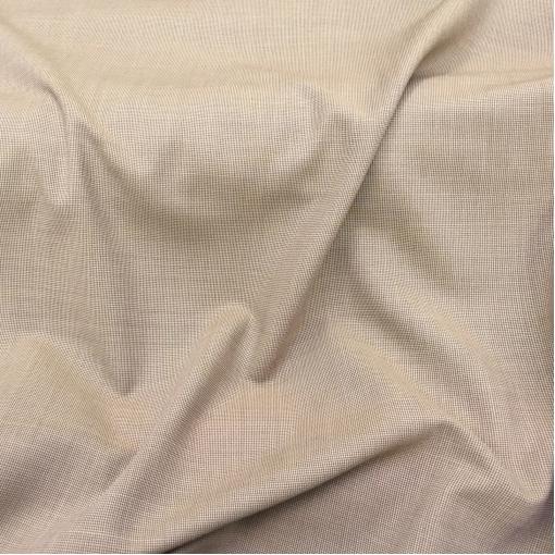 Ткань костюмная летняя принт мелкая (1 мм) горчично-бежевая клетка
