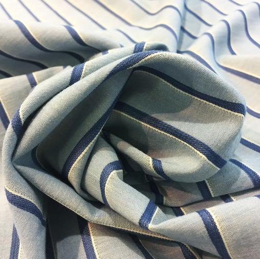 Лен жаккардовый принт Burberry сине-голубые полосы
