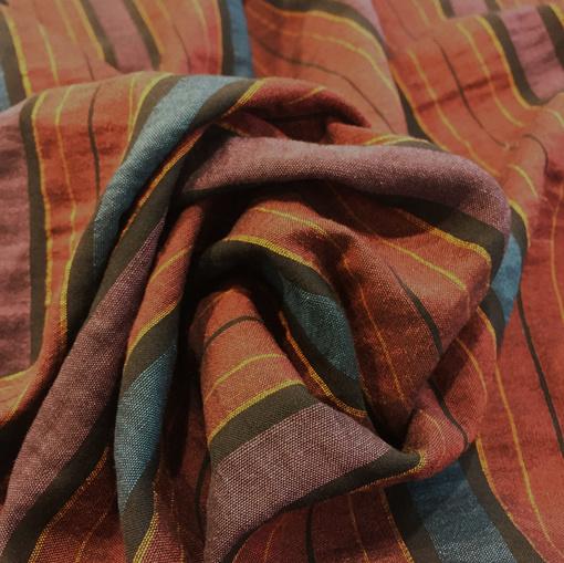Лен жаккардовый принт Burberry красно-голубые полосы