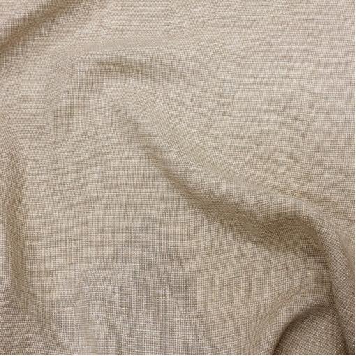 Лен нарядный серо-бежевая клеточка с люрексом