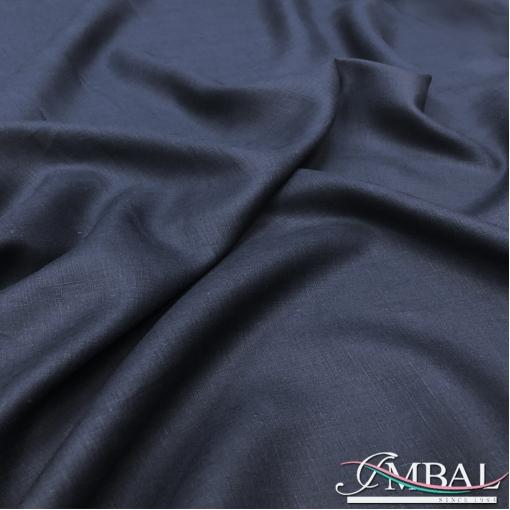 Лен костюмно-плательный мягкий сине-черного цвета