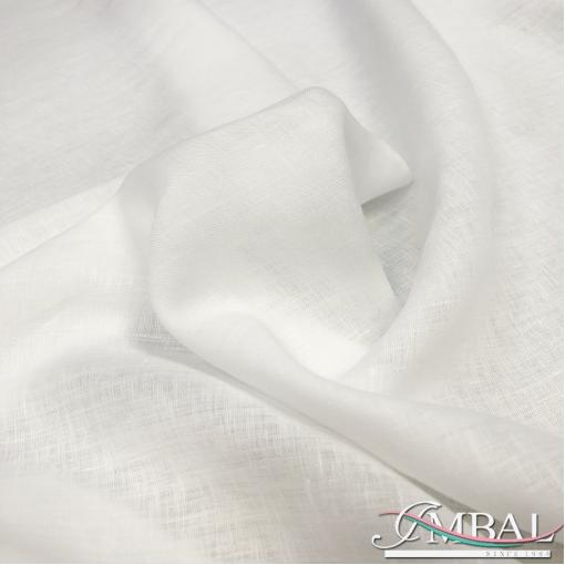 Лен плательный мягкий жемчужно-белого цвета