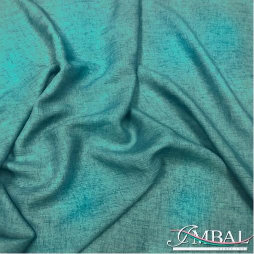 Лен мягкий костюмно-плательный меланж цвета морской волны