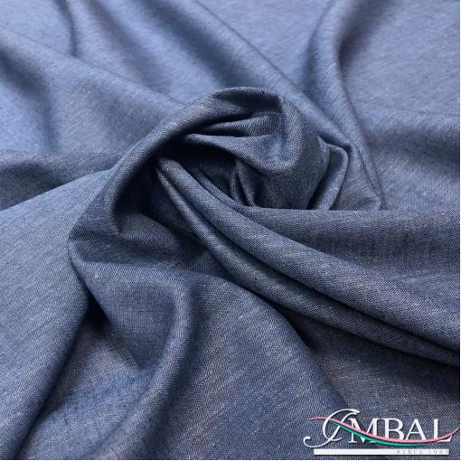 Лен мягкий костюмно-плательный меланжевый синего цвета