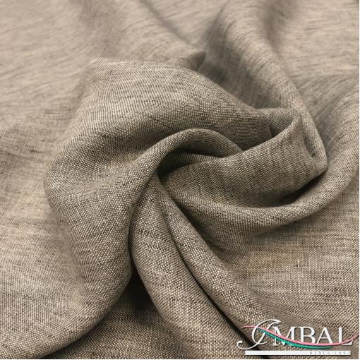 Лен мягкий костюмно-плательный меланж натурального серо-бежевого цвета