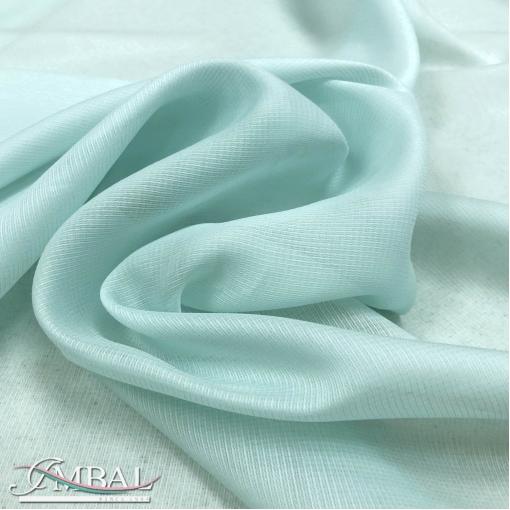 Муслин хлопок с шелком нежно-бирюзового цвета в сеточку