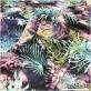 Муслин хлопок с шелком принт Ratti тропики в сиренево-голубых тонах