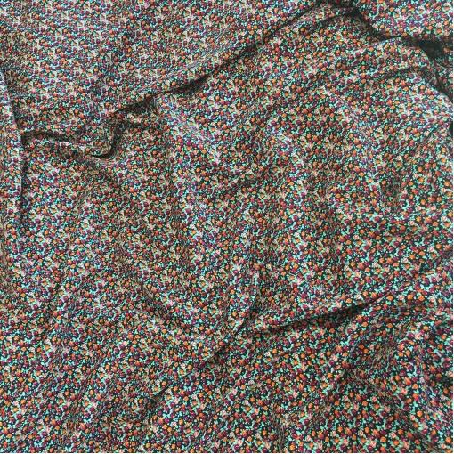 Вискоза плательная стрейч принт Blumarine мелкие цветы на черном фоне