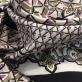 Вискоза плательная креповая орнамент с полосами в серо-розовой гамме