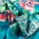 Вискоза плательная мягкая принт Max Mara тропический купон на ярко-бирюзовом фоне