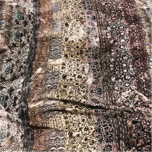 Вискоза плательная мягкая принт ETRO винтажный узор и имитация текстуры льна
