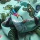 Вискоза плательная мягкая принт D&G кактусы и птицы на бирюзовом фоне