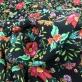 Вискоза плательная стрейч принт мелкие цветы на черном фоне