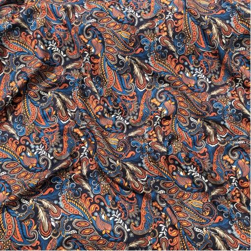 Вискоза мягкая плательная стрейч принт ETRO орнамент в красно-оранжевых тонах
