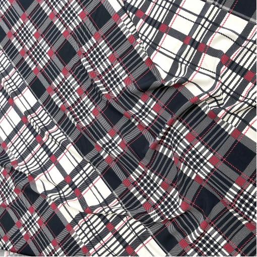 Вискоза мягкая плательная принт Burberry темно-синяя клетка, имитация стежков малинового цвета