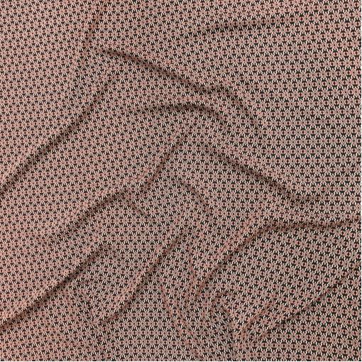 Вискоза мягкая плательная принт Prada мелкая геометрия в калиновой гамме