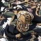 Вискоза плательная стрейч принт ETRO тигры и ремни на черном фоне