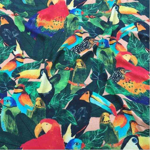 Вискоза мягкая стрейч плательная креповая принт попугаи птицы