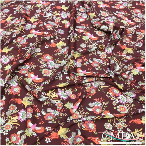 Вискоза штапель мягкая тонкая принт Ratti птички, цветы на свекольном фоне