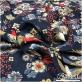 Вискоза штапель мягкая тонкая принт Ratti птички, цветы на синем фоне