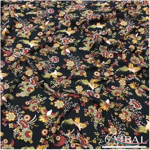 Вискоза штапель мягкая тонкая принт Ratti птички, цветы на черном фоне
