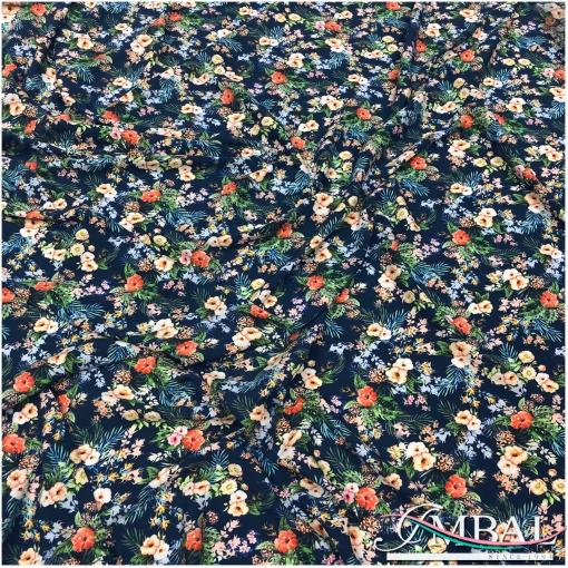 Вискоза штапель плательная принт Ratti мелкие букеты на синем фоне