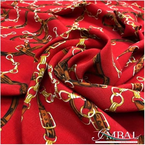 Вискоза плательная принт Hermes ремни и цепи на красном фоне